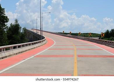 Long bridge with bicycle lane