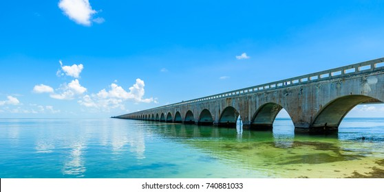 Long Bridge at Florida Key's - Historic Overseas Highway And 7 Mile Bridge to get to Key West, Florida, USA