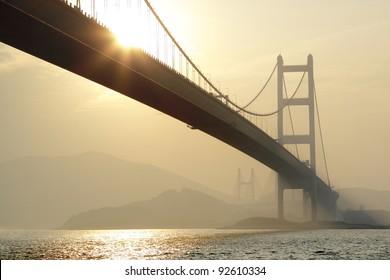 long bridge in sunset hour