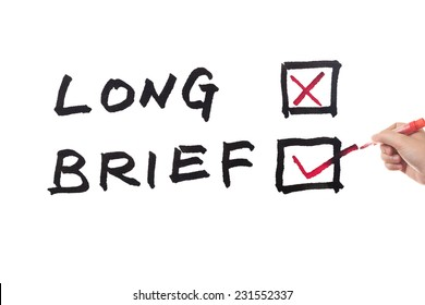Long or brief words written on white board