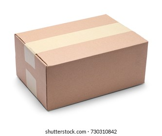 Long Brown Closed Cardboard Box Isolated on a White Background.