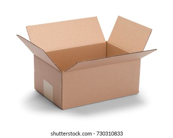 Long Brown Open Cardboard Box Isolated on a White Background.