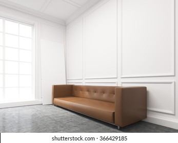 A long brown sofa standing at the white wall, three elements of wall decor in shape of rectangles over it. Light from the window to the left. Side view. Concept of interior design. 3D rendering