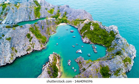 Long Chau island from above, one of island in Cat Ba islands. Hai Phong province, Vietnam