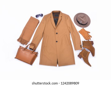 Long coat with various accessories for men on white background