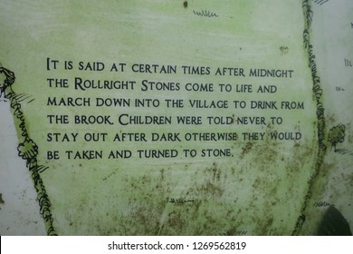 Long Compton. Warwickshire. England. December 27. 2018. Tourist information witchcraft sign.