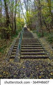 Long concrete stairs in forrest park at autumn covered by leafs