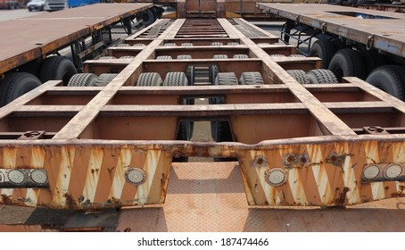 Long container trailer chassis used for transporting shipping containers