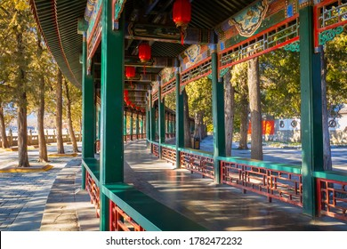 The Long Corridor at the Summer Palace in Beijing, the palace converted to a public park and opened for people in Beijing, China