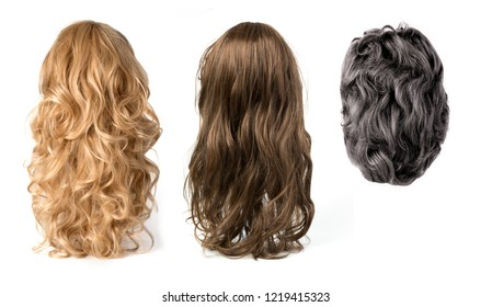 long curly blond ,black and brown hair wigs isolated on white background