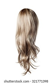 long curly gray wig on a white background