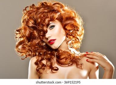 Redhead teen curly hair