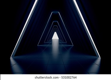 Long dark corridor interior. 3D Rendering