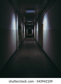 Long dark creepy hallway.