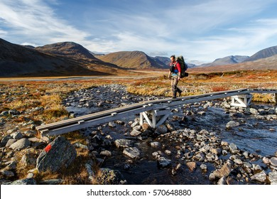 long distance Hiker on the Kungsleden hiking Trail in Lapland - Sweden
