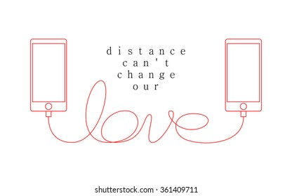 Long Distance Love - couple relationship - sweet valentine card - smart phone mobile concept