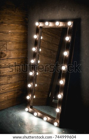 Long Dressing Mirror Light Bulbs Stands Stock Photo Edit