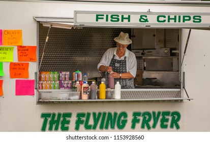 Long Eaton, Derbyshire, UK, 07/21/2014 Mobile fast food catering outlet