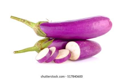 long eggplant on white background