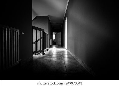 Long Empty corridor in a modern building