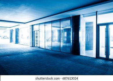 long empty corridor of modern office building.
