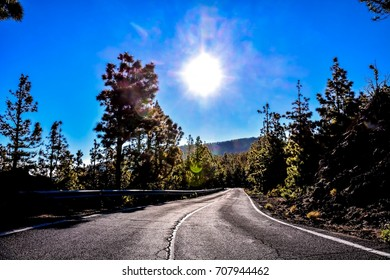 Long Empty Desert Asphalt Road in El Hierro Canary Islands Spain
