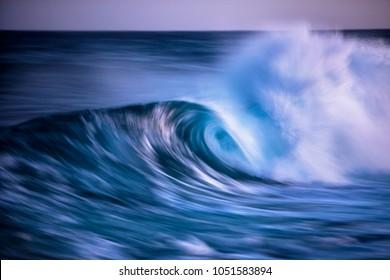 Long exposed photo of wavein Atlantic ocean, Canary island