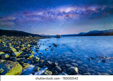 Long exposer with milkyway background at Tekapo Lake, New Zealand.
