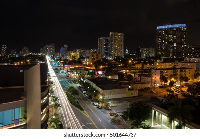 Long exposition night shot of Alton Rd. in Miami Beach, Florida, with camera pointed to south.