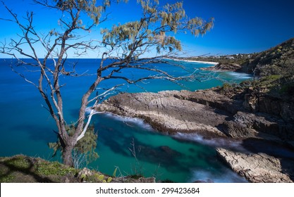 Long Exposure Aerial View of a Beautiful Ocean Coastline Overlooking the Sunshine Beach, Noosa National Park, Noosa Heads, Australia