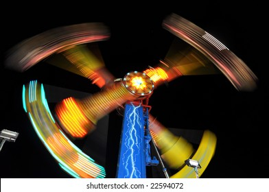 long exposure of amusement park ride at night