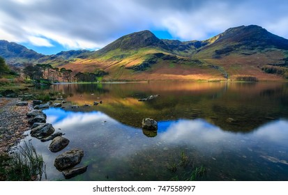 Long exposure of the Autumn colours at Butteremere, The Lake District, Cumbria, England