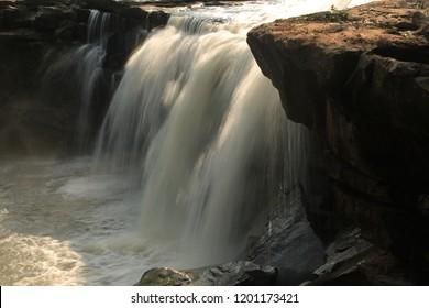 Long exposure of a backyard waterfall.Huai (river)wang yai (big) waterfall. Waterfall in asia  Thailand.sisaket