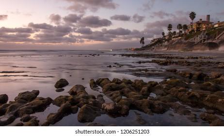 Long Exposure of Beach Sunset in Carlsbad California