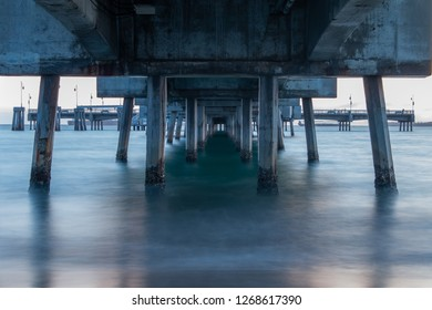 Long exposure of the beach under the Pier of Belmont of Long Beach 2018