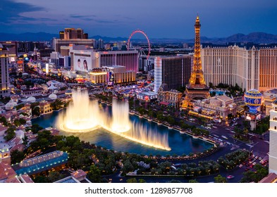 Long exposure of the Bellagio Fountains on the Las Vegas Strip (Las Vegas Boulevard) at the Bellagio resort in Las Vegas, Nevada, USA on the 12th August 2018