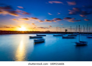 Long exposure of boats during sunset
