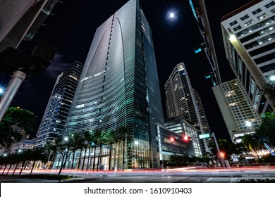 Long exposure of Brickell Ave in Miami, Florida Summer 2016