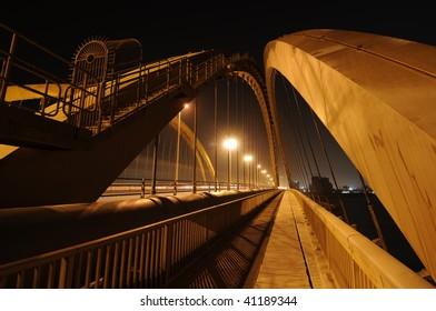 a long exposure of a bridge in Bahrain