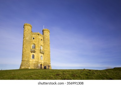 Long exposure of Broadway Tower in Worcestershire, England, brainchild of Capability Brown and designed for the Earl of Coventry by architect James Wyatt in 1798