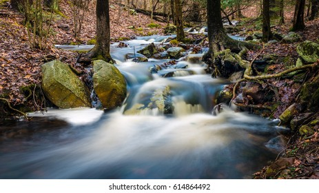 Long exposure of brook gushing with spring runoff in Stokes State Forest, Branchville, NJ