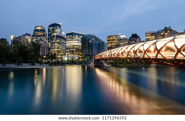 Long exposure of the Calgary Skyline over the Bow River in the evening in Calgary, Alberta, Canada