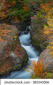 Long exposure of canal river from Ryuzu waterfall in autumn