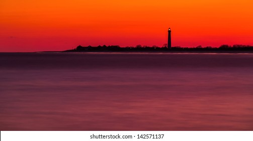 Long exposure of the Cape May Point Lighthouse after sunset, New Jersey.