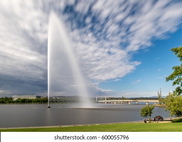 Long exposure of the Captain Cook Memorial on Lake Burley Griffin in Canberra.