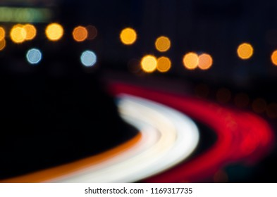 Long exposure of car lights on a freeway.Speed motion on road at night