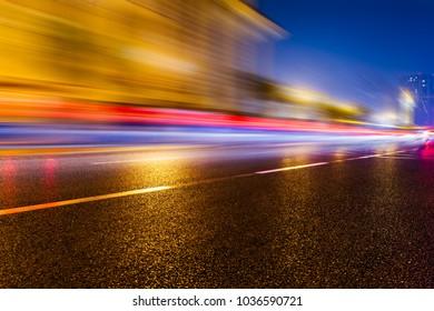 long exposure of car trails at night,China.