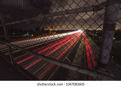 Long exposure of cars going by on the 405 freeway in Huntington Beach California
