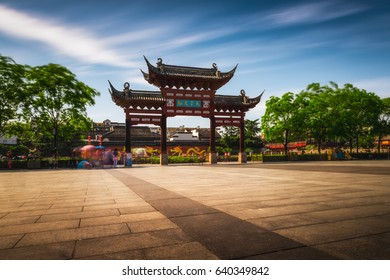 Long exposure of the central gate at the Confucius Temple in Nanjing, China.