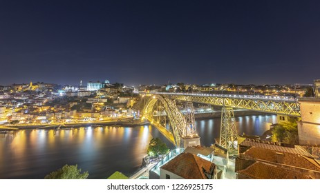 Long exposure of the city of Porto Portugal and one of its popular bridges